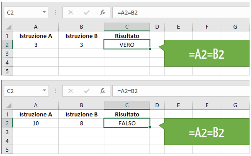 Excel simbolo di uguale