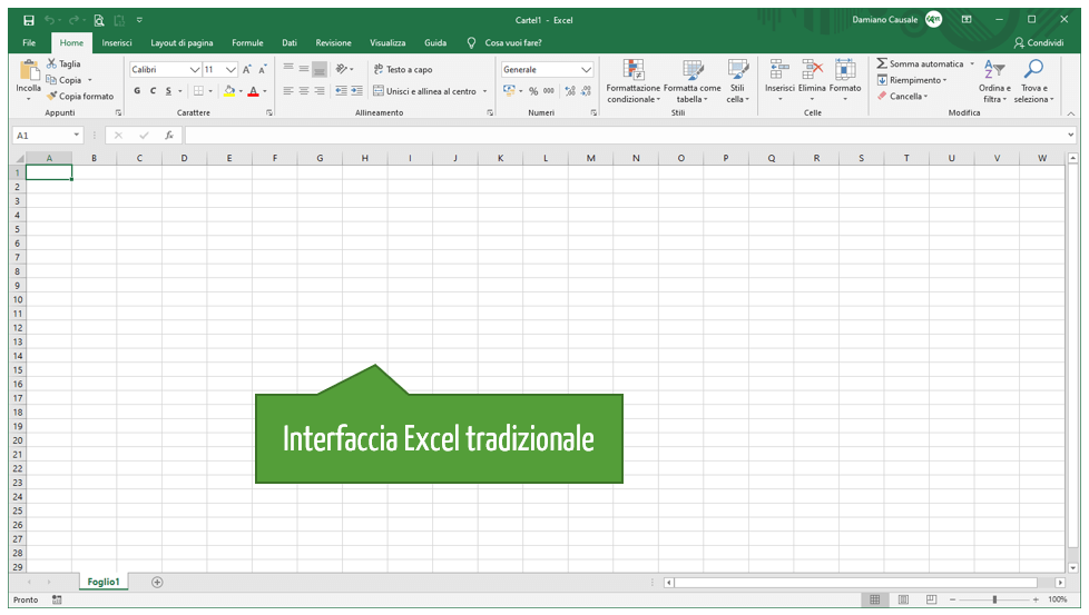 L'interfaccia di Excel online