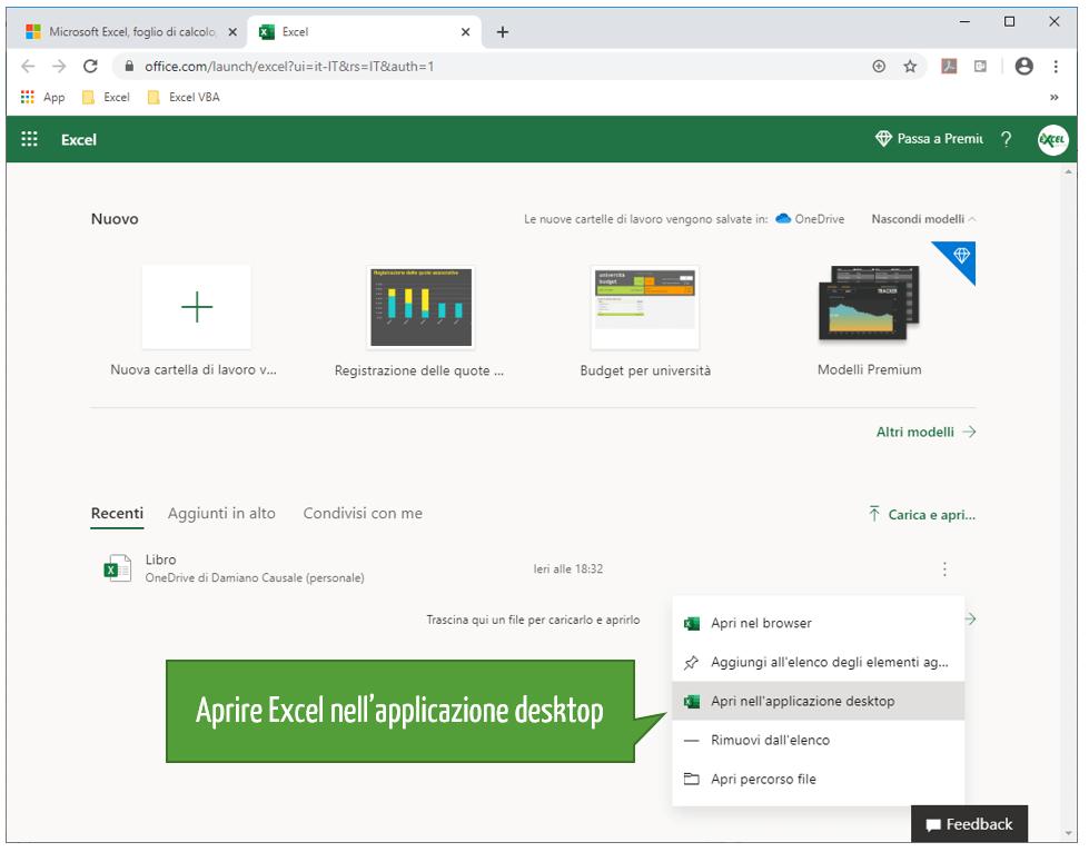 Aprire Excel nell'applicazione desktop
