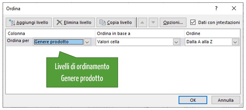 Livelli di ordinamento Excel