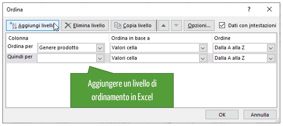 Aggiungere un livello di ordinamento Excel