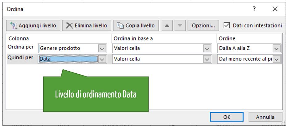 Ordinamento Excel