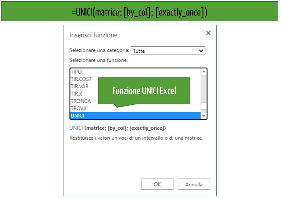 Excel valori univoci | La sintassi della funzione UNICI Excel