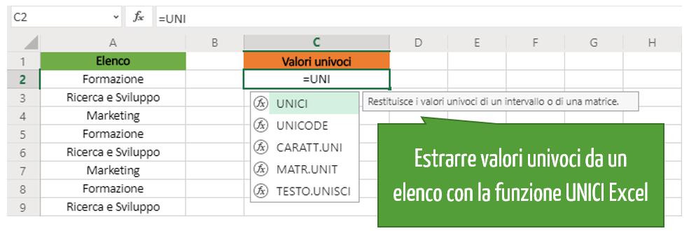 funzione unici | valori univoci Excel