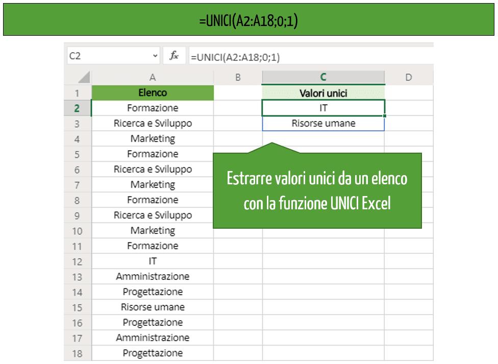 Estrarre valori UNICI da elenco Excel