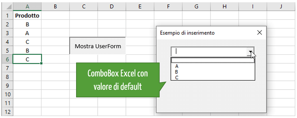 Impostare un valore di default in una ComboBox Excel