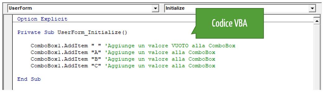 Codice VBA ComboBox Excel