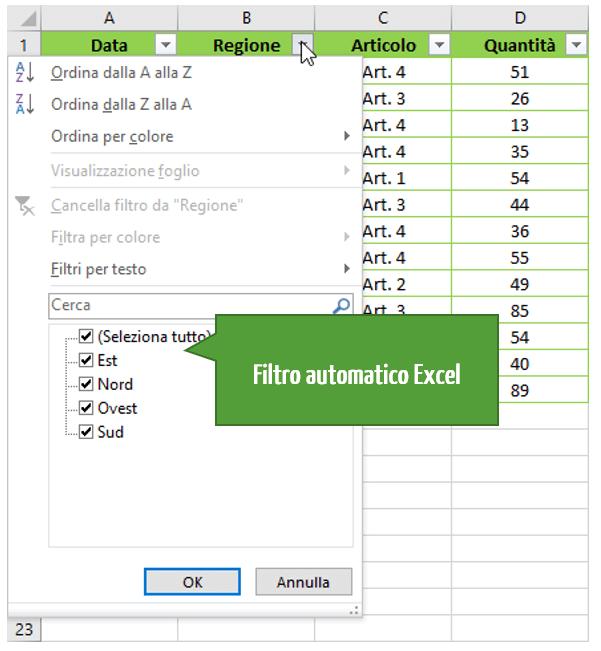 Filtro in Excel | Excel filtro automatico