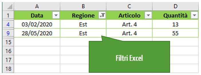 Filtri automatici | Excel filtro