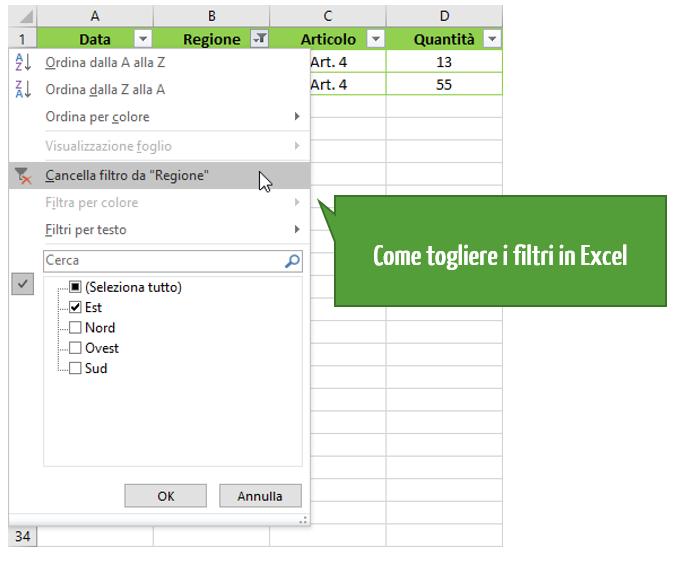 Come togliere i filtri in Excel