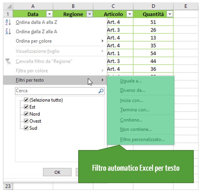Come usare il filtro automatico in Excel: i filtri Excel personalizzati | Filtro Excel testo