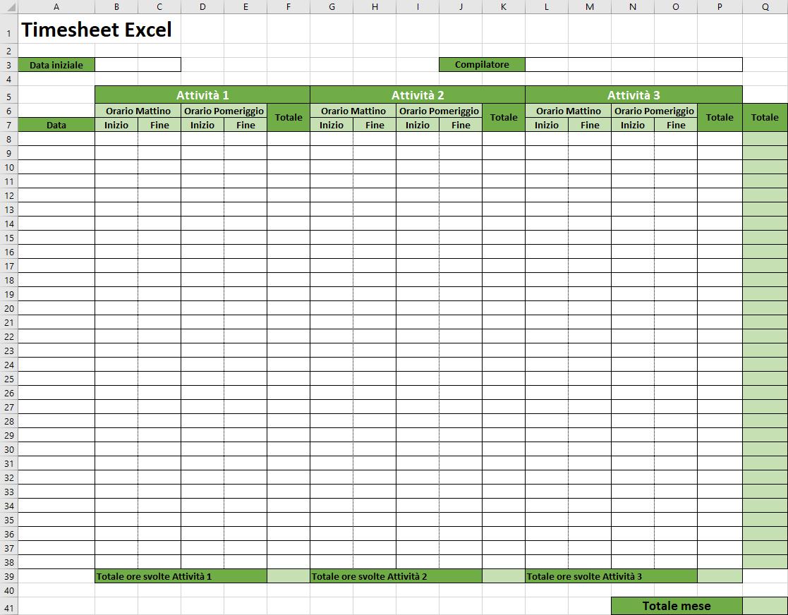 Come creare un modello timesheet Excel