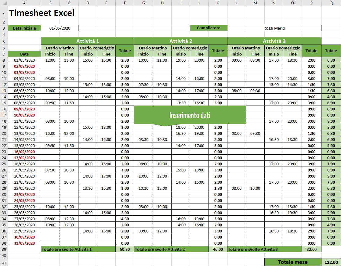 Time sheet | Inserimento dei dati nel timesheet