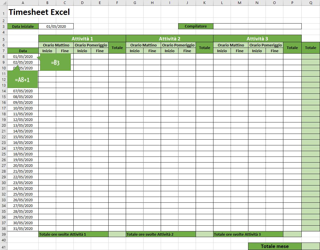 Aggiungere le formule per le date nel timesheet