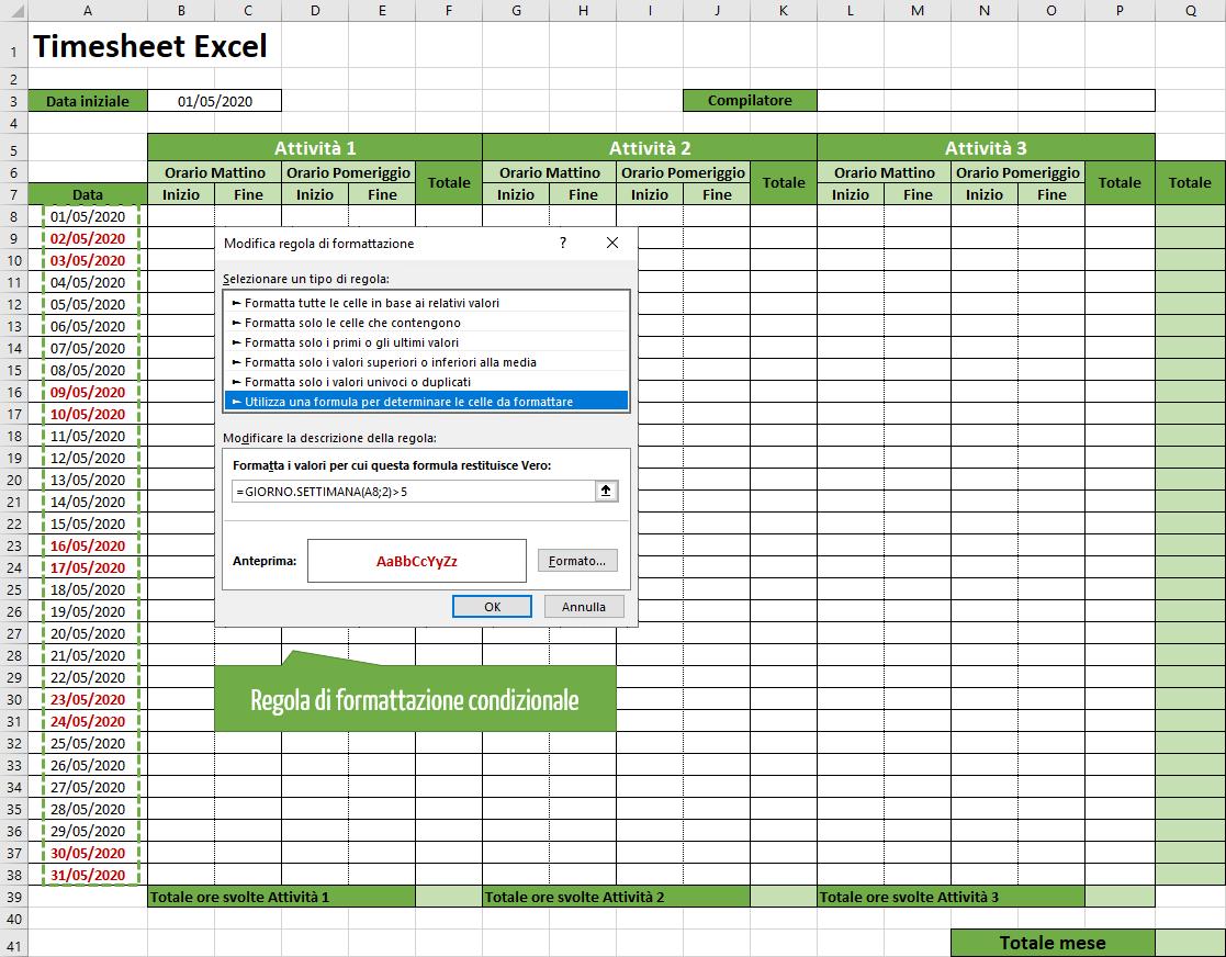 timesheet Excel | modello timesheet