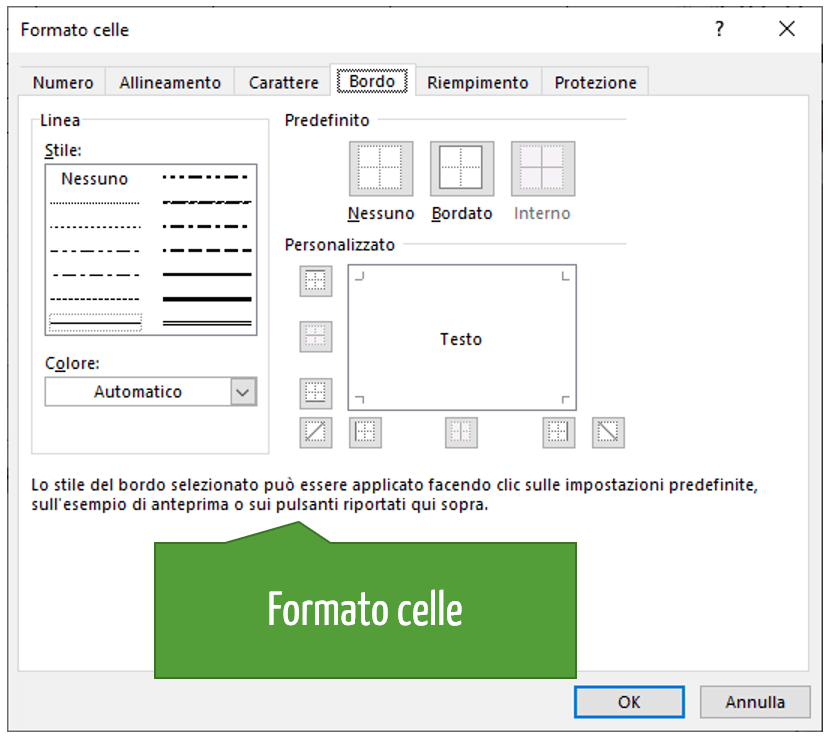 Prima nota cassa Excel | Formato celle