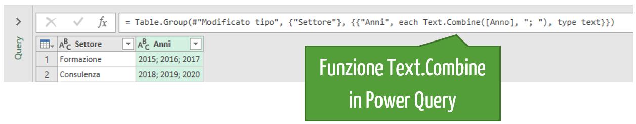 La funzione Text.Combine in Power Query