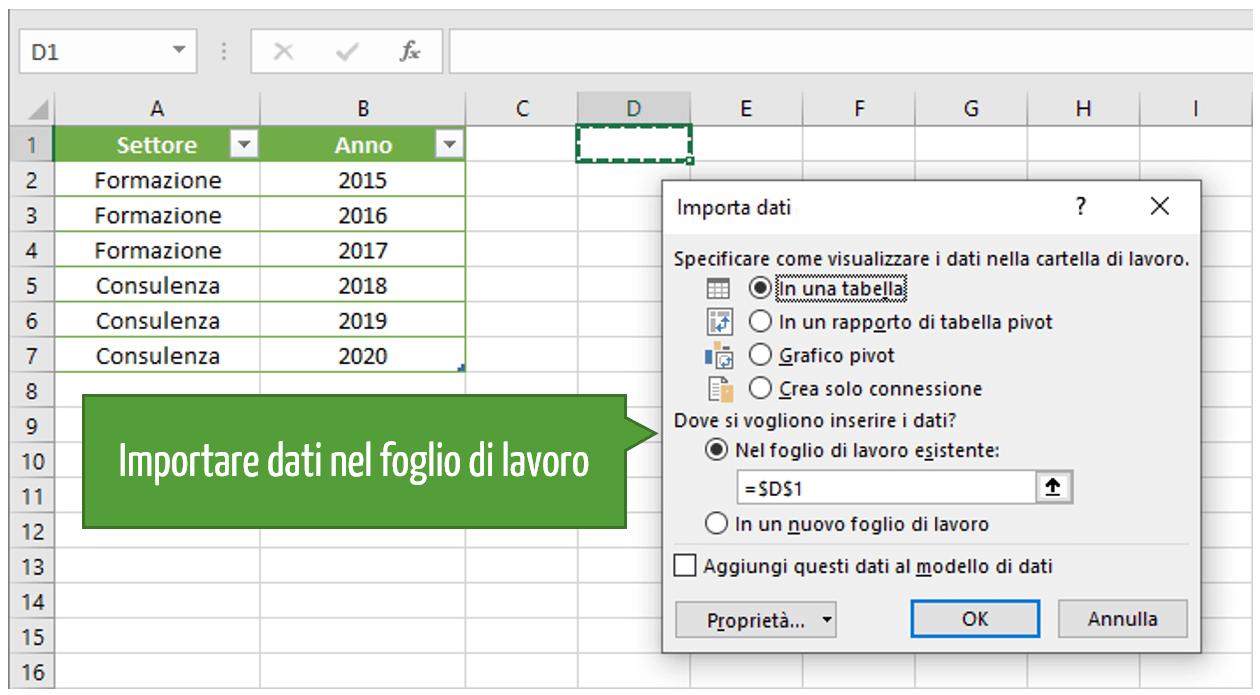 Importare dati in un foglio di lavoro Excel