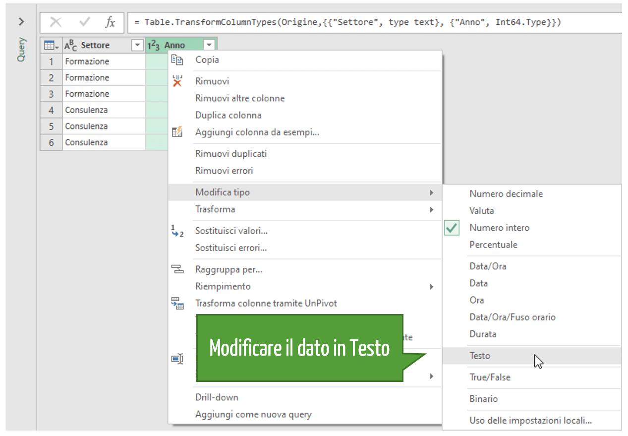 Modificare il formato di un dato in Power Query Excel