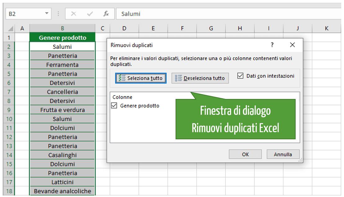 Eliminare duplicati Excel