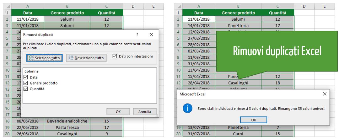 Excel rimuovi duplicati