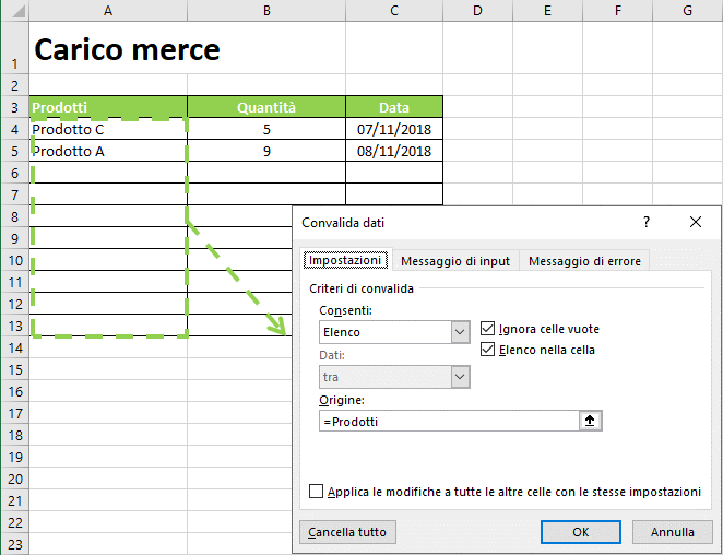 Gestione magazzino Excel: foglio di lavoro Carico