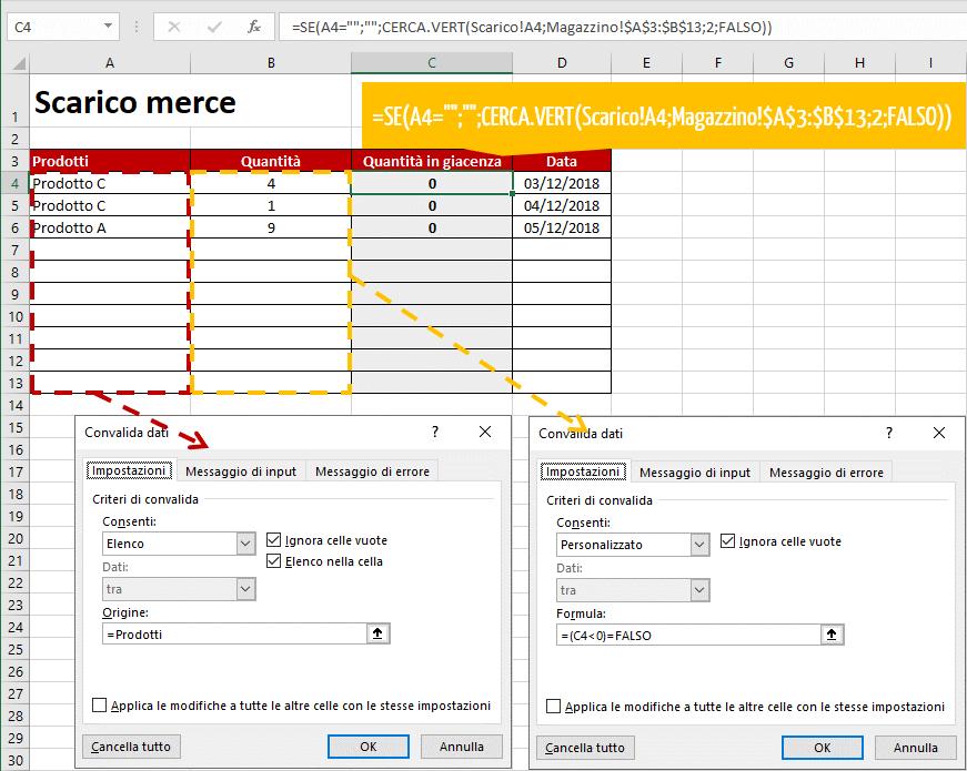 Gestione magazzino Excel: foglio di lavoro Scarico