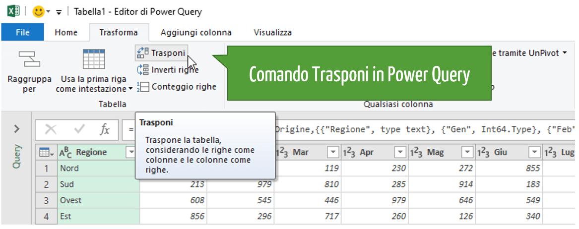 comando Excel Trasponi