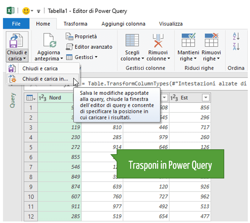 Trasporre i dati in Power Query
