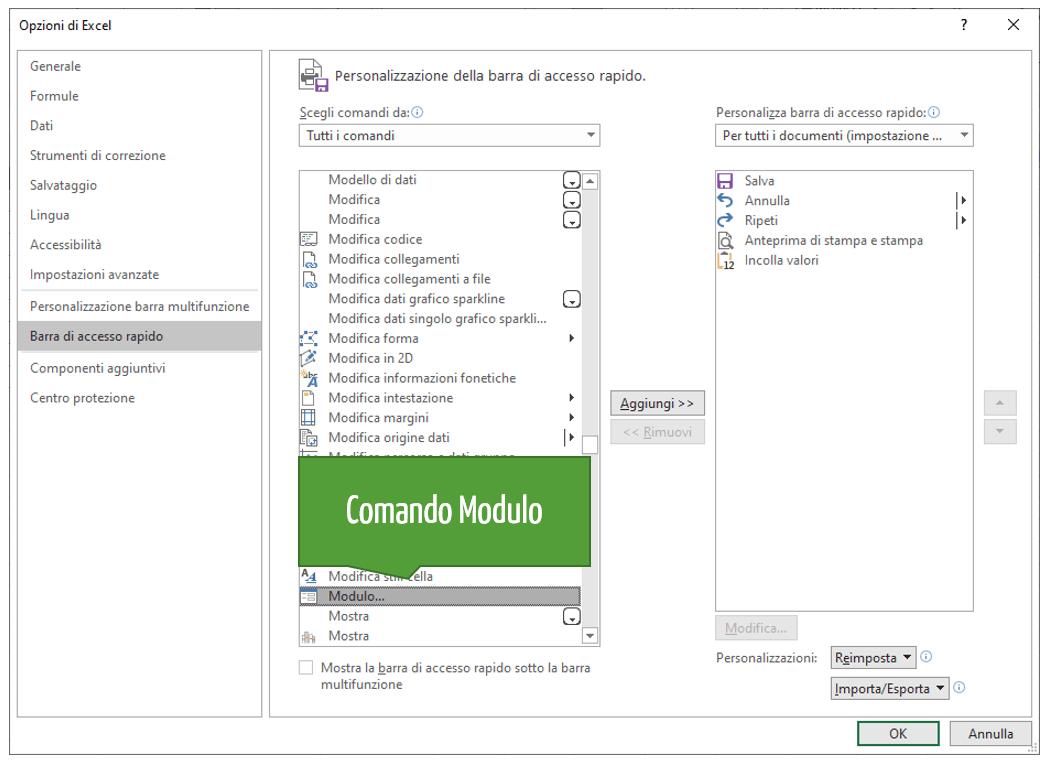 Excel moduli  | Aggiungere pulsante modulo