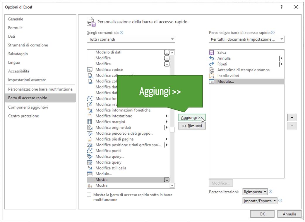 Aggiungere pulsante modulo Excel