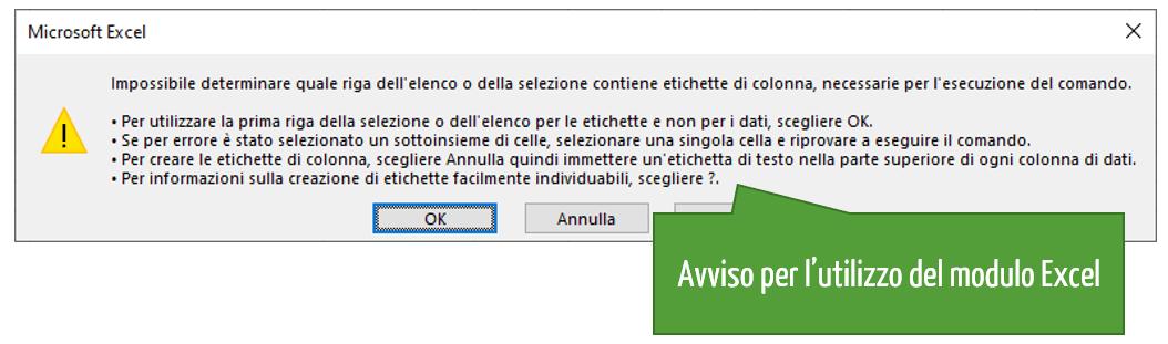 Moduli Excel | Avviso per l'utilizzo del modulo Excel