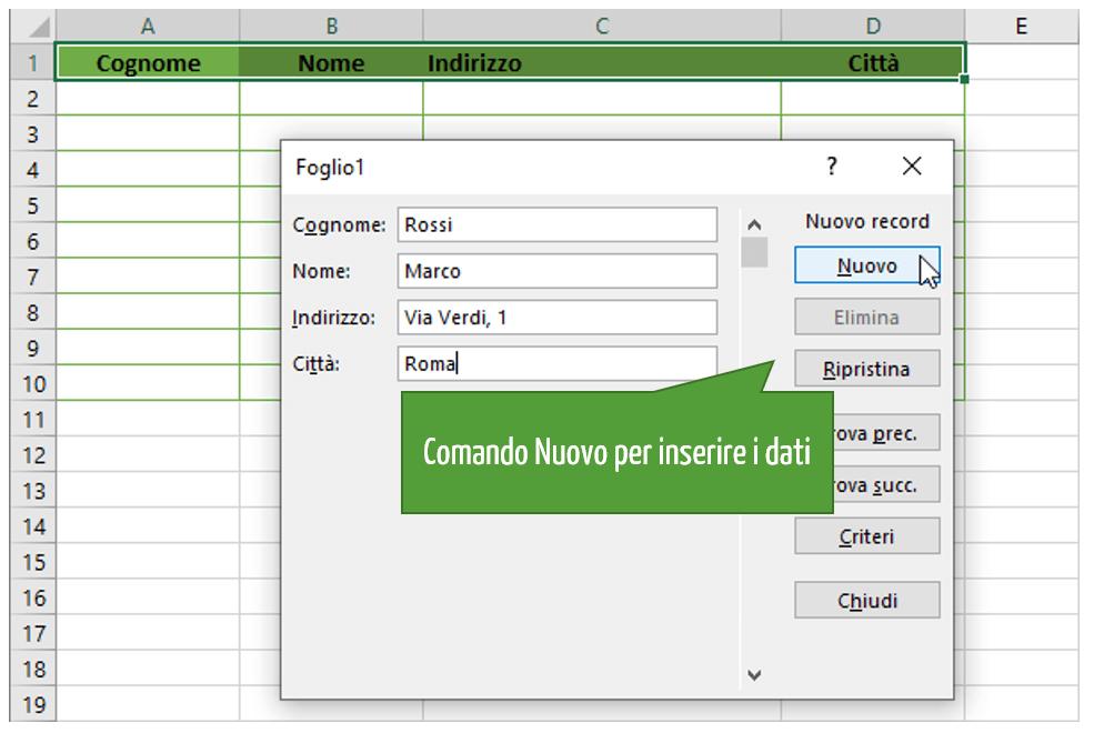 Maschera Excel | Creare una maschera in Excel