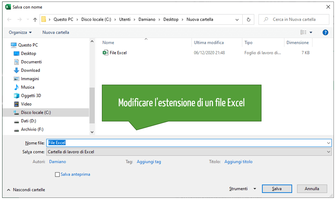 Come modificare l'estensione di un file Excel