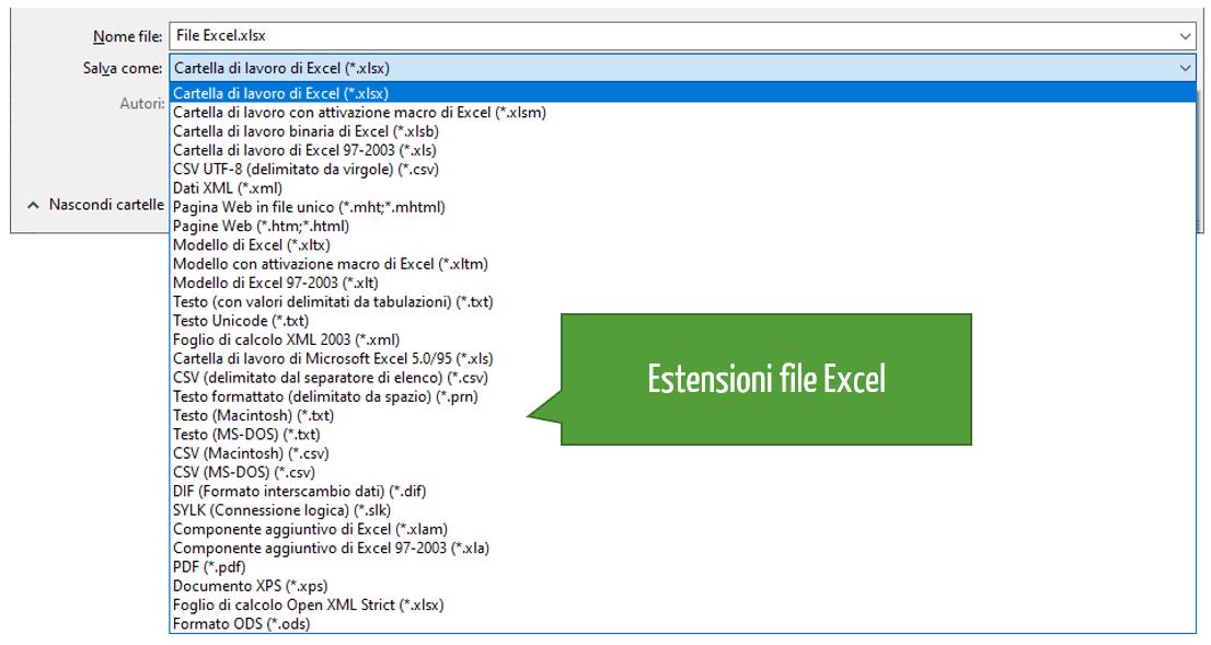 Tipi di estensione file Excel