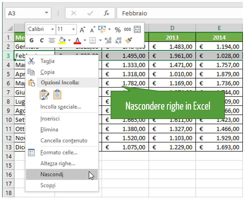 Nascondere celle Excel | Come nascondere righe in Excel