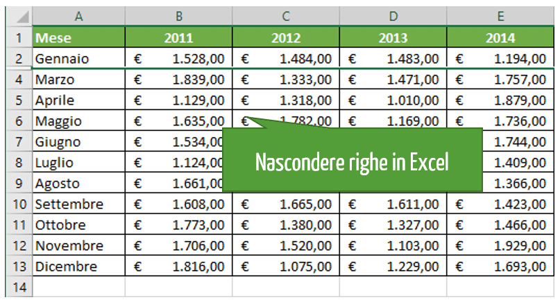 Come nascondere righe in Excel