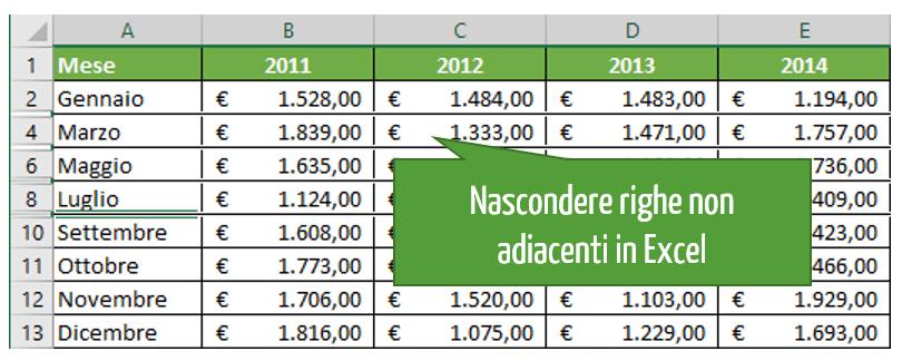 Come nascondere righe non adiacenti in Excel