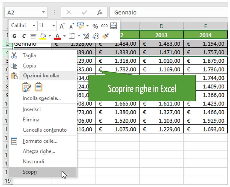 Come scoprire righe in Excel
