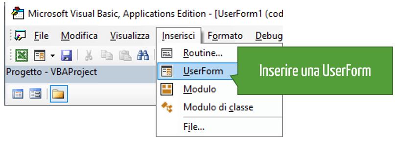Inserire una UserForm Excel VBA