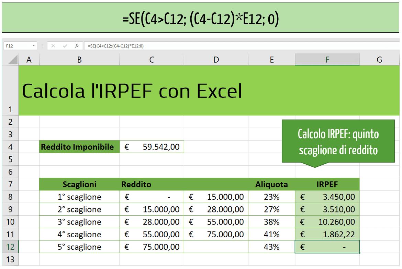 Calcolo IRPEF: quinto scaglione di reddito