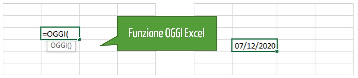Excel data odierna | Excel data di OGGI | Formula OGGI Excel