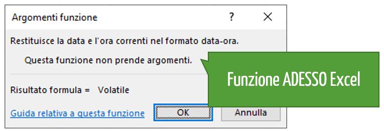 Data e ora di oggi: la sintassi della funzione ADESSO in Excel