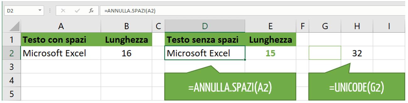 Casi in cui la funzione ANNULLA.SPAZI Excel non rimuove gli spazi extra
