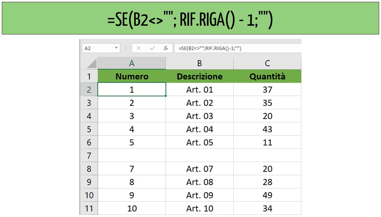 Numero righe Excel: come usare la funzione RIF.RIGA