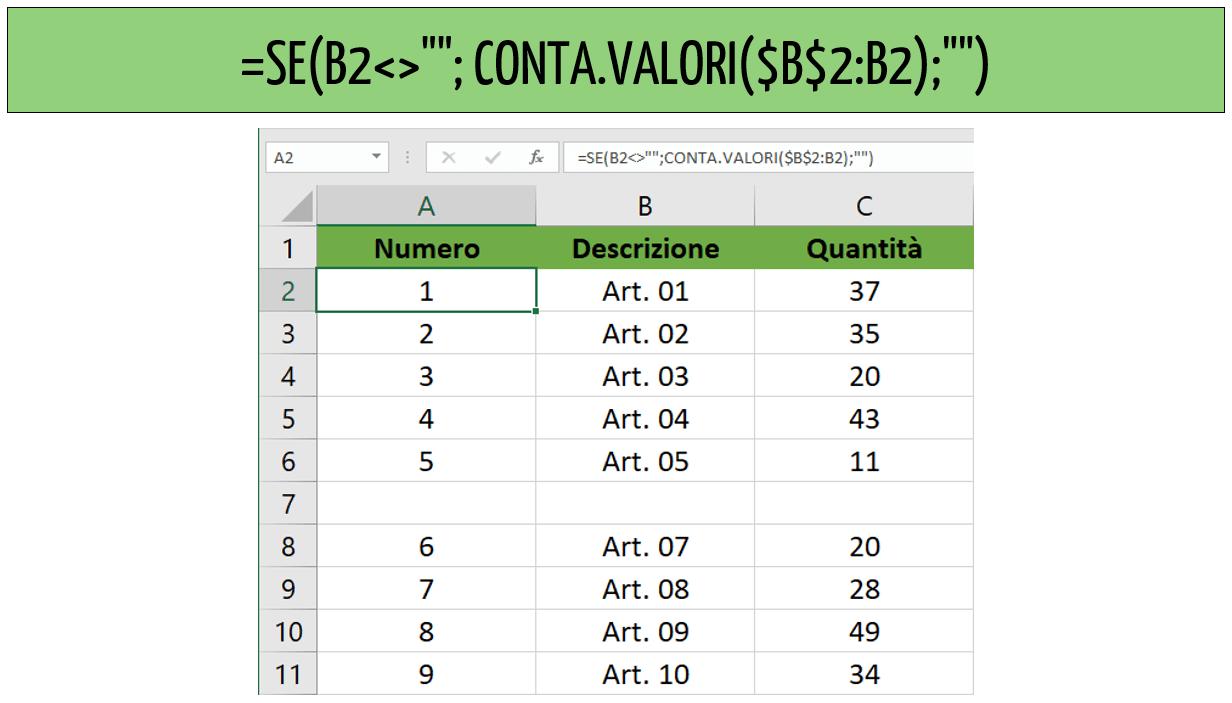 Numero righe Excel: come usare la funzione CONTA.VALORI