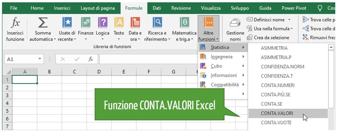 Funzione CONTA VALORI Excel | Conta numeri e conta caratteri Excel