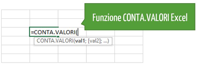 Sintassi funzione CONTA VALORI Excel