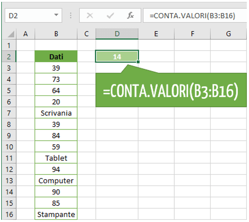 Come utilizzare la funzione CONTA.VALORI | Conteggio celle Excel