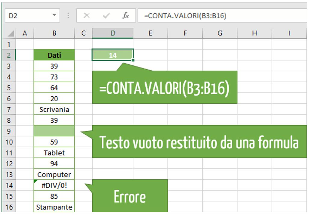 funzione CONTA.VALORI Excel | Conta Excel numeri e testo
